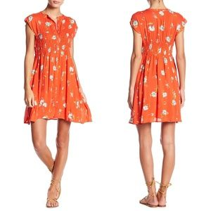 Free People Red Greatest Day Smocked Minidress